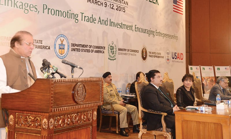 ISLAMABAD: Prime Minister Nawaz Sharif speaks at inauguration of Pakistan-US Economic Partnership Week on Monday.
