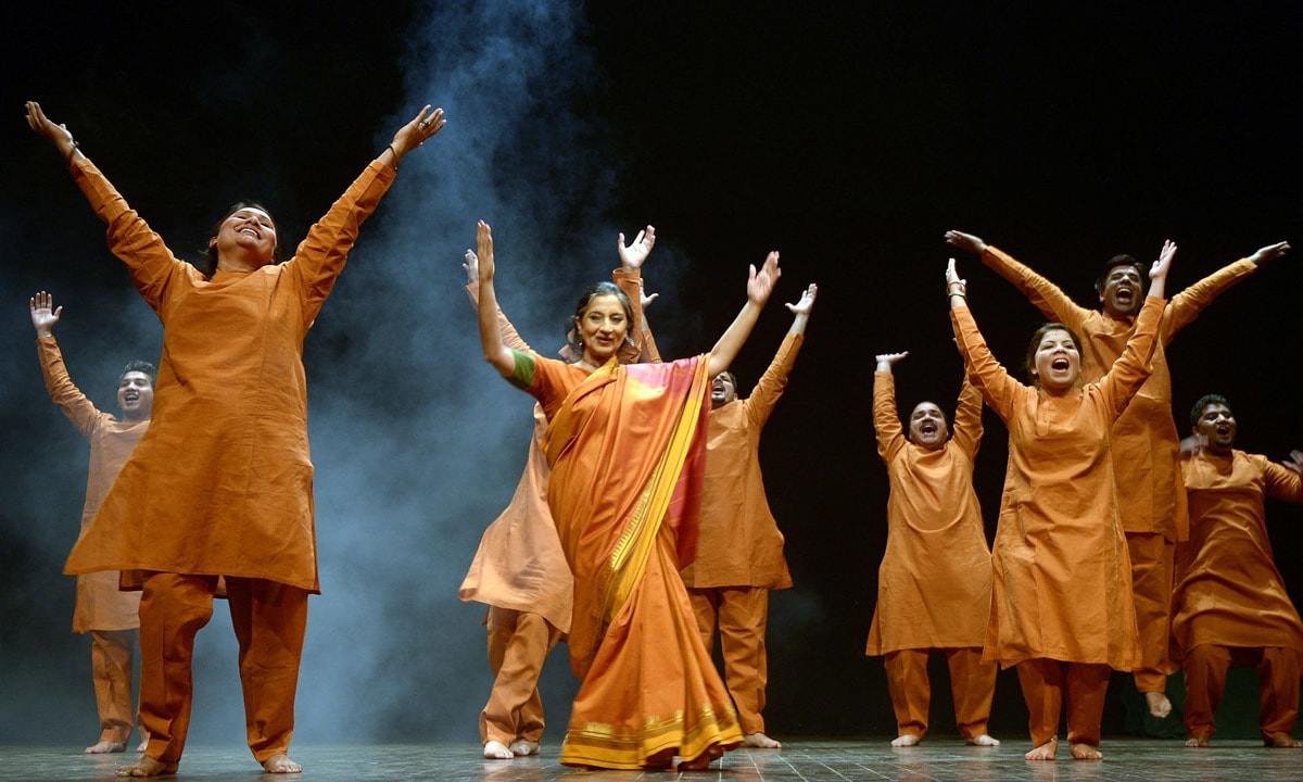 Sheema Kirmani performs with other dancer during International Women's Day. – AFP