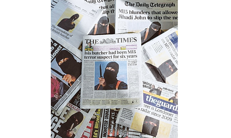 BRITISH newspapers show IS militant 'Jihadi John' who has been accused of trying to travel to Somalia to join Shebab.—AFP