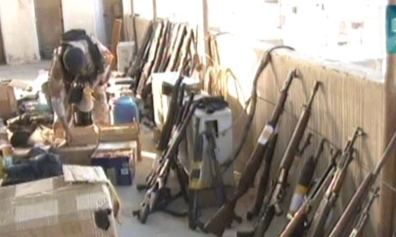 Rangers officials say ammunition seized from Nine Zero was stolen from Nato containers. -DawnNews screengrab