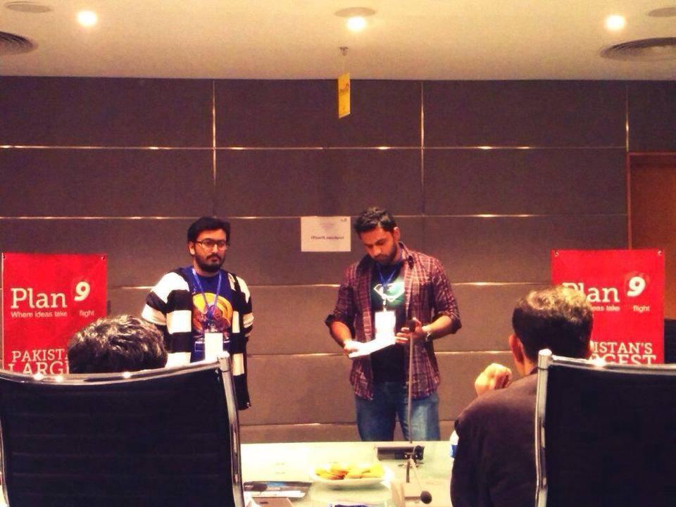Co-founder Khalid Bajwa and Humayun Haroon pitching Patari to Plan9 - via Facebook