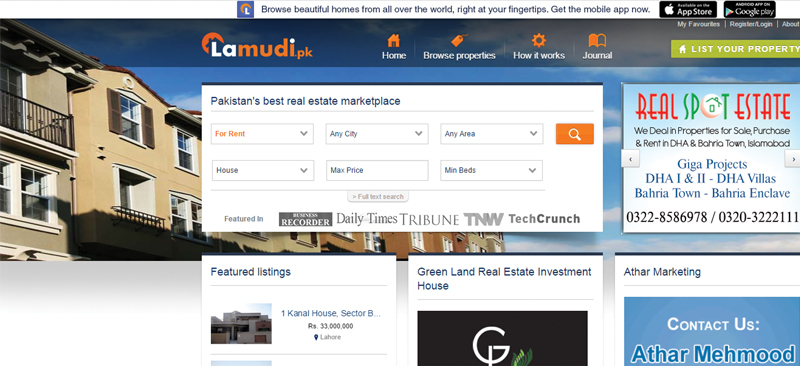 Realty online: Zameen and Lamudi are the two most prominent players in the online real estate market.