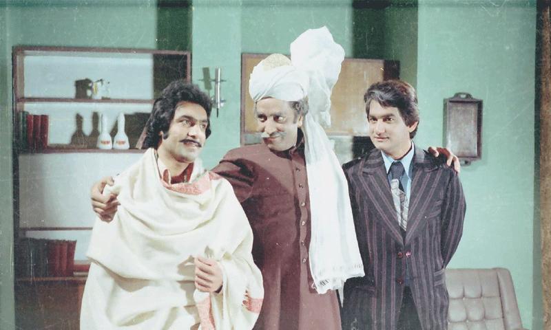 Firdous Jamal, Mehboob Alam and Aurangzeb Laghari in Waris —Photo courtesy: PTV Archives