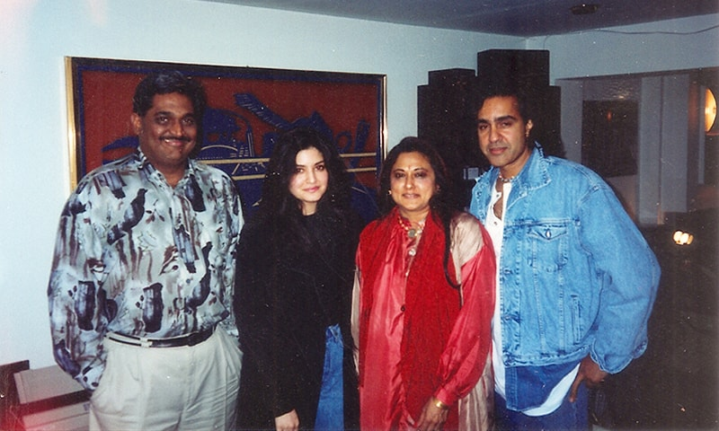 Nazia Hassan and Biddu with Shashi Gopal and Kalpana Gopal (founders of Magnasound Records) —Photo credit: Magnasound/Creative Commons