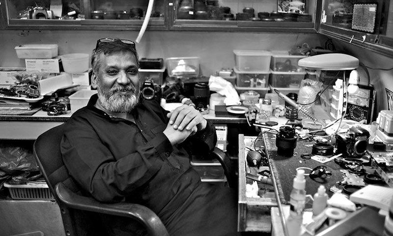 Riaz bhai, the genius of Karachi's camera market. —Photo by author