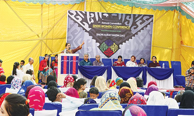 Nazeer Qureshi, president of the Sindhi Aurat Tanzeem, speaks at the Sindh Women Conference at the Karachi Press Club on Sunday.—White Star