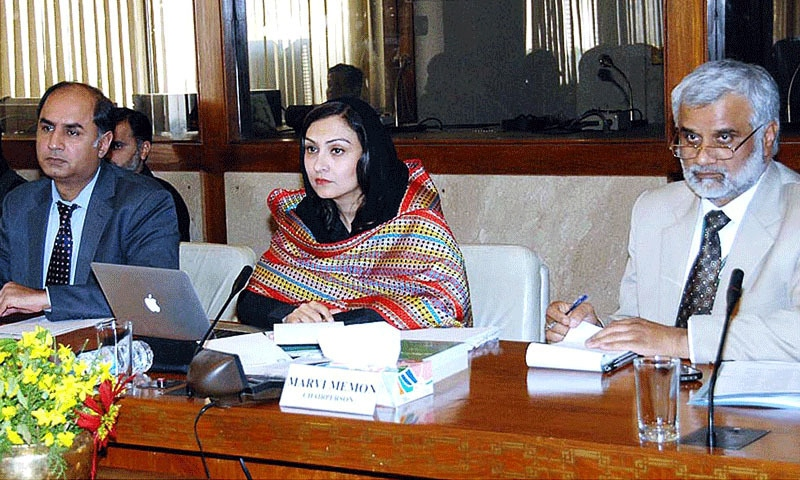 Marvi Memon chairing a meeting of the Standing Committee on Information, Broadcasting and National Heritage at the Parliament House. Photo: AFP