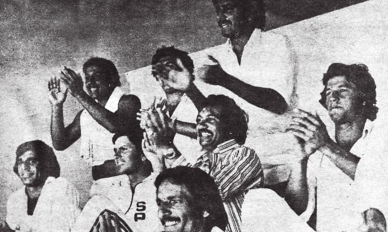 The Pakistani team cheers during a match in Australia in 1977 —  Dawn File Photo