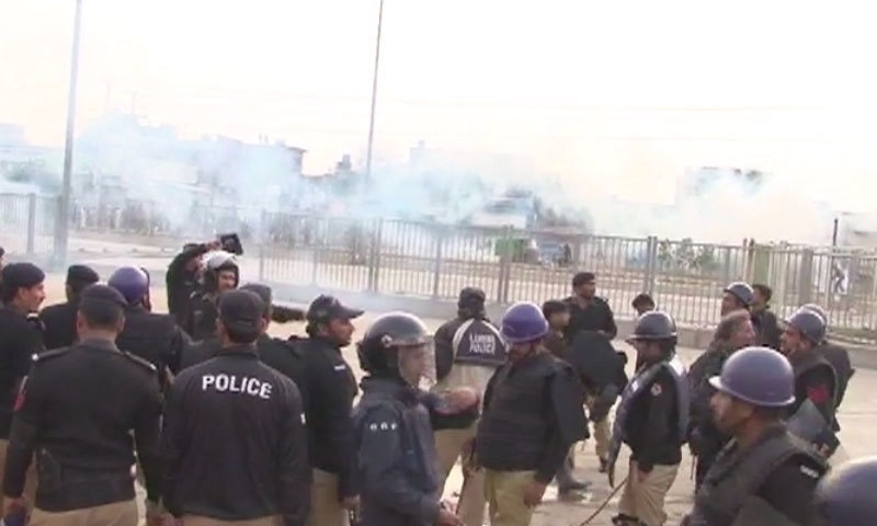 Police use tear gas as protest turns violent - DawnNews screen grab