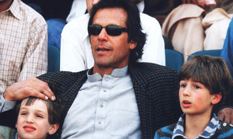 Imran Khan, the author of the book, with his sons.