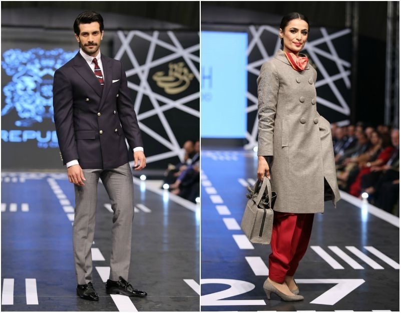 From L-R: A suit by Omer Farooq and Yasmeen Sheikh's design that crowned her one of the winners.  —Publicity photo