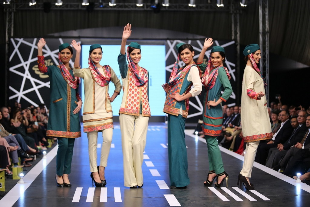 Khaadi's outfits featured pops of colour. —Publicity photo
