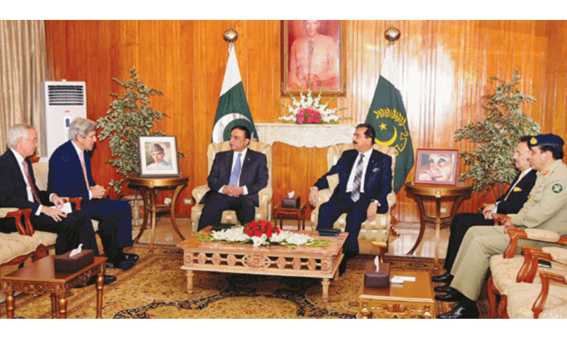 President Asif Ali Zardari meets with US senator John Kerry (second from left) and US ambassador in Pakistan Cameron Munter (left) at President House in Islamabad, with the then Prime Minister Yousuf Raza Gilani, in May 2011