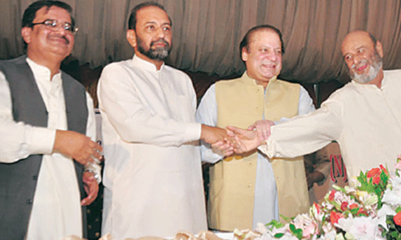 Jalal Mehmood Shah, president of the Sindh United Front, Nawaz Sharif and Mumtaz Bhutto, the chairman of SNF shake hands over their electoral alliance in the upcoming elections