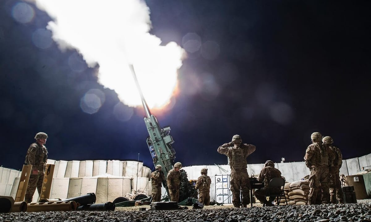 US soldiers take part in an artillery exercise on forward operating base Gamberi.