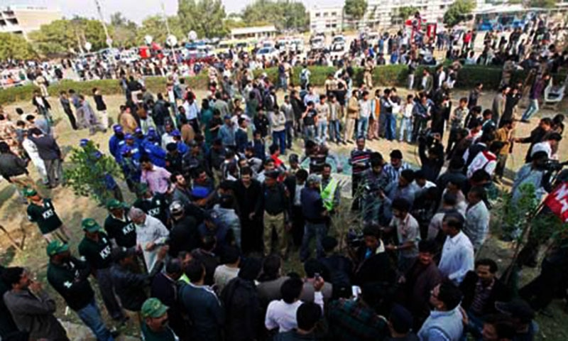 A case had been registered against Umair aka Chota and Hafeezullah for planting a bomb in Karachi University  on December 28, 2010 which exploded wounding at least four students.  - Reuters/file