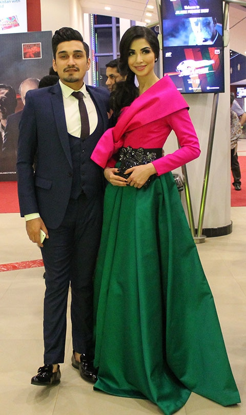 Uzair Jaswal and Sabeeka Imam at the premiere.