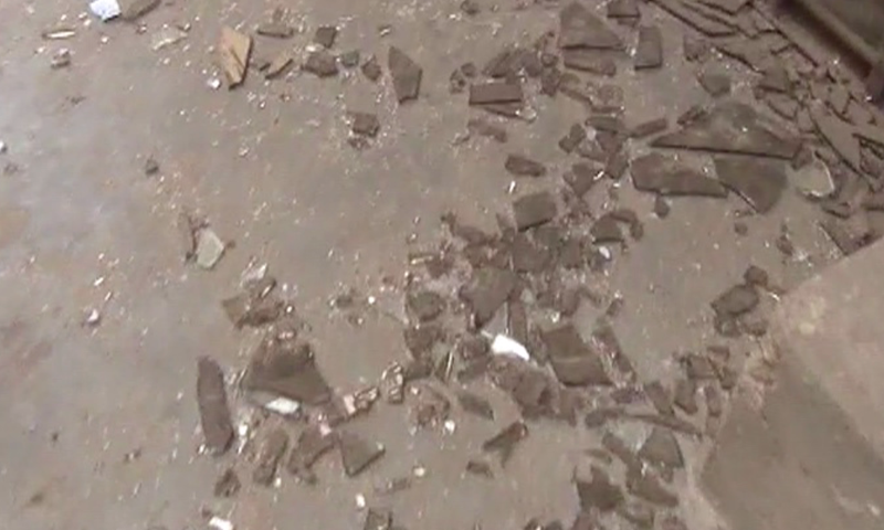 Screengrab shows shattered glass on the road outside Saleh Mosque
