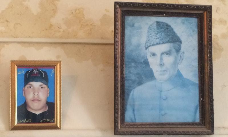 A picture of Aitzaz Hasan is placed next to Muhammad Ali Jinnah's portrait at Hasan's school – Aurangzeb Khan