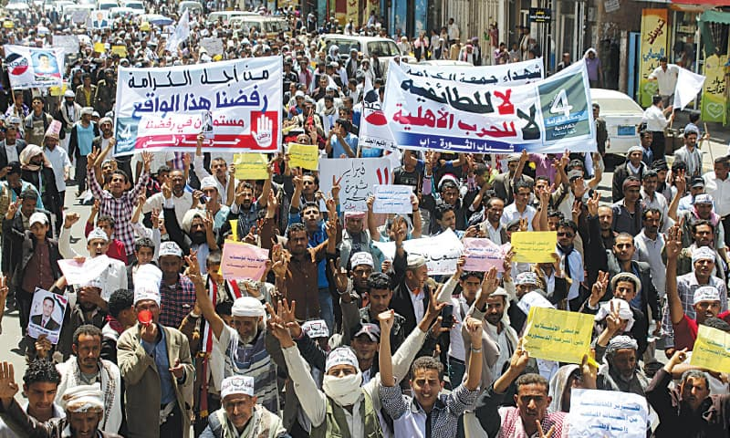 Ibb (yemen): Anti-Huthi protesters demonstrate to show support for Yemen's President Abdu-Rabbu Mansour Hadi on Saturday.—Reuters