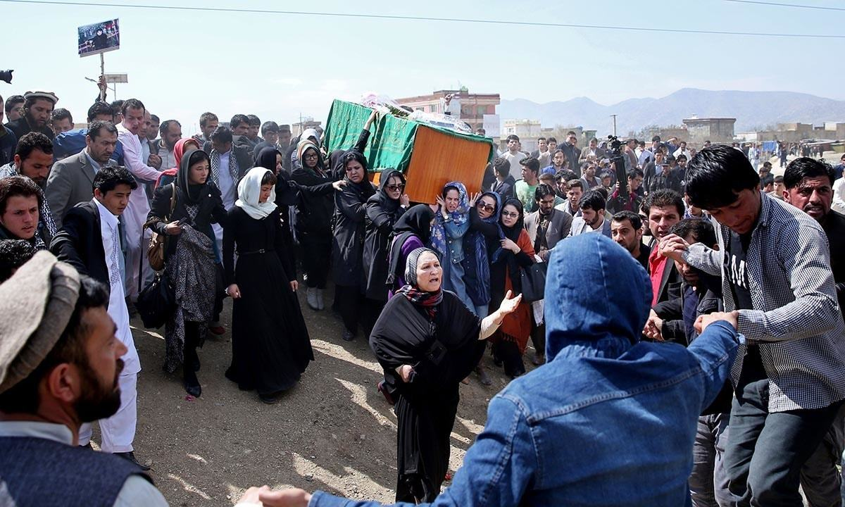 Afghan women rights activists carry the coffin of 27-year-old Farkhunda.- AFP
