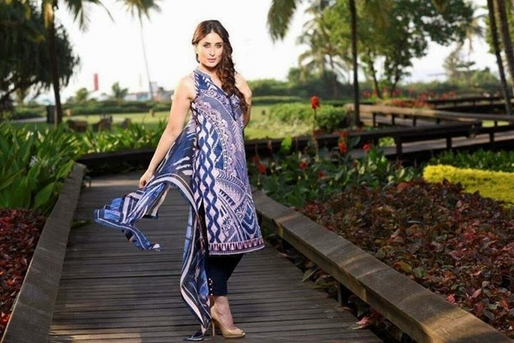 Faraz Manan collaborated with textile giant Crescent Lawn for his 2015-2016 line, modeled by Kareena Kapoor. —Photo courtesy: pakistanigalaxy.net
