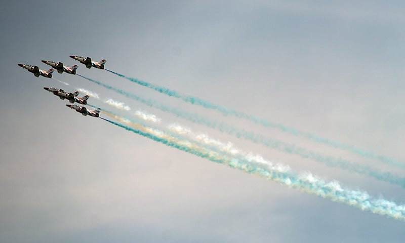A view of the fly-past performed by PAF Sherdils. —AFP