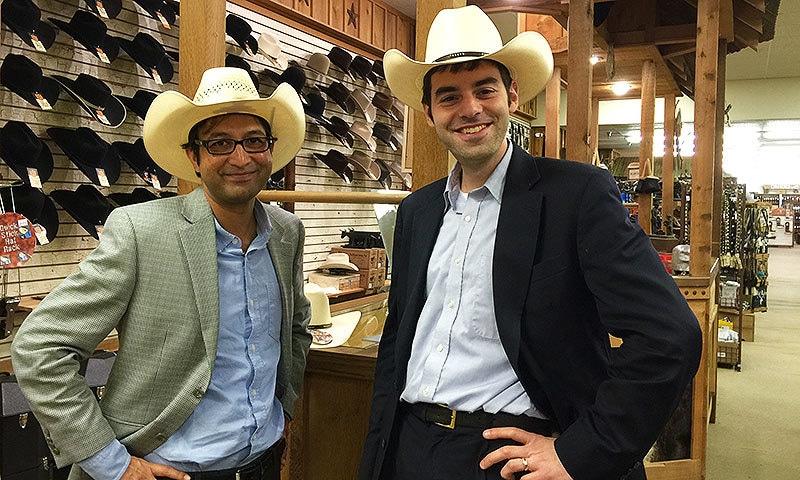 Rauf Arif (left) and the author (right) experimenting with local fashion in Tyler, Texas. —Photo credit: Lamia Zia