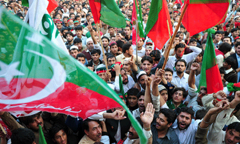 PTI rally in Lahore attracts huge crowds. Courtesy AFP.