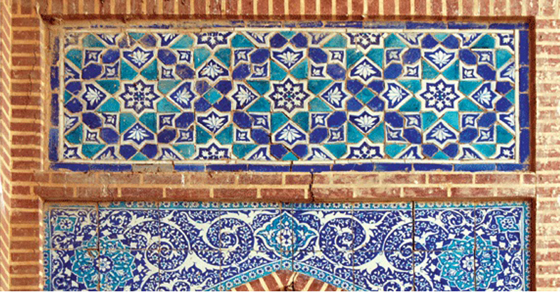 An ornate ceramic time portal from Khudabad. Photo courtesy Tale of the Tile.