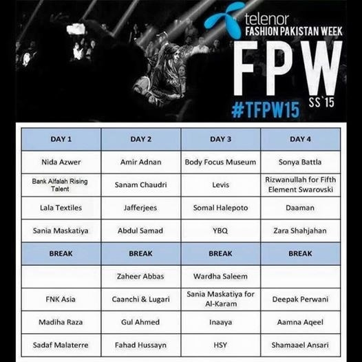 Schedule for TFPW 2015. —Publicity photo.