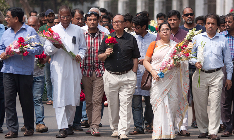 Bangladeshi social activists participate in a rally to protest against the killing of Avijit Roy, a prominent Bangladeshi-American blogger in Dhaka, Bangladesh, Sunday, March 1, 2015. — AP/File
