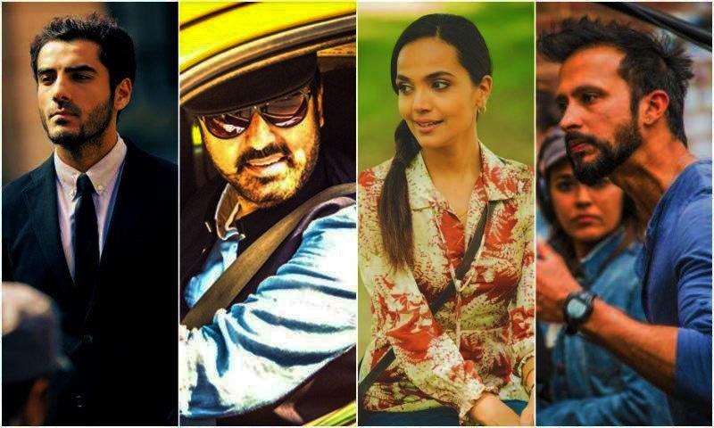 (L-R): Adeel Hussain as Jamshed, Noman Ijaz as Bhatti, Amina Sheikh as Salma and Ali Kazmi as Sikandar.