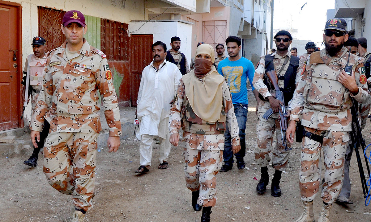 Rangers officials during an operation in Pakhtunabad