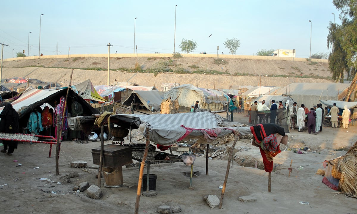 Few gypsies have proper tents in place, but many live only under a shade.