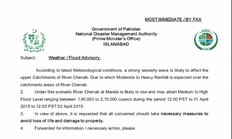 """According to the flood advisory issued by the NDMA, Chenab River at Marala is likely to rise and attain """"medium to high flood level"""". — DawnNews screengrab"""