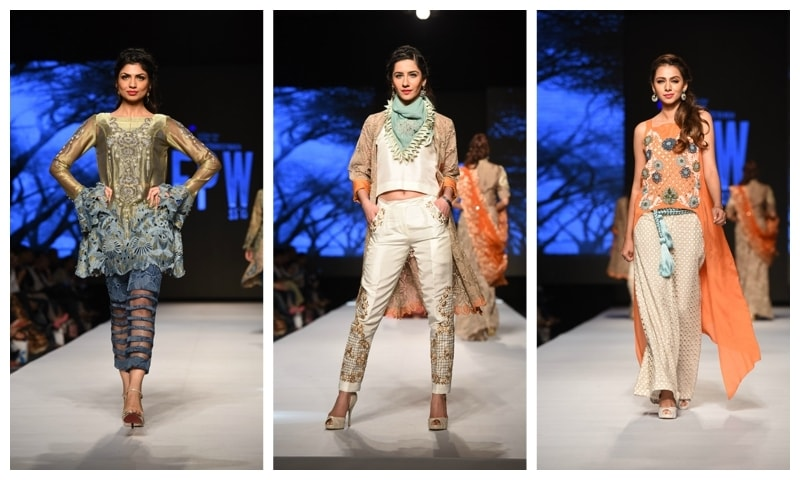 Three looks from Sanam Chaudri's collection.