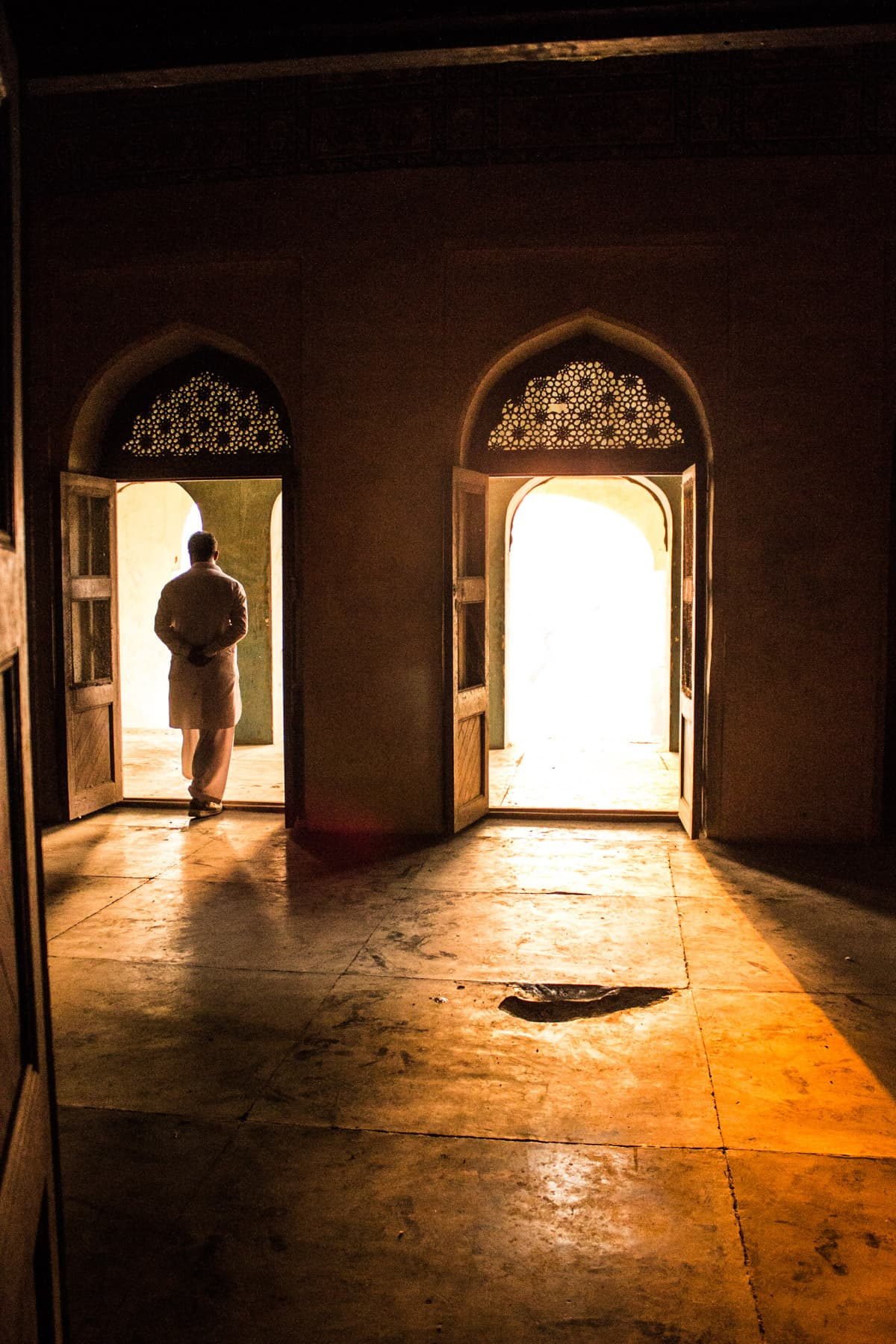 Light passing through the doors of Sheesh Mahal. Photo by Shameen Khan.