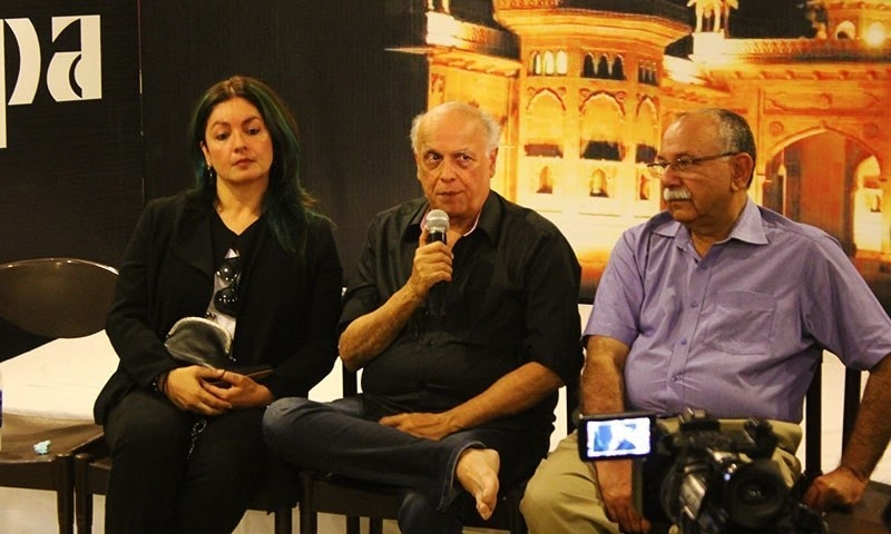 Mahesh Bhatt and his daughter speak at a press meet before the play in Karachi