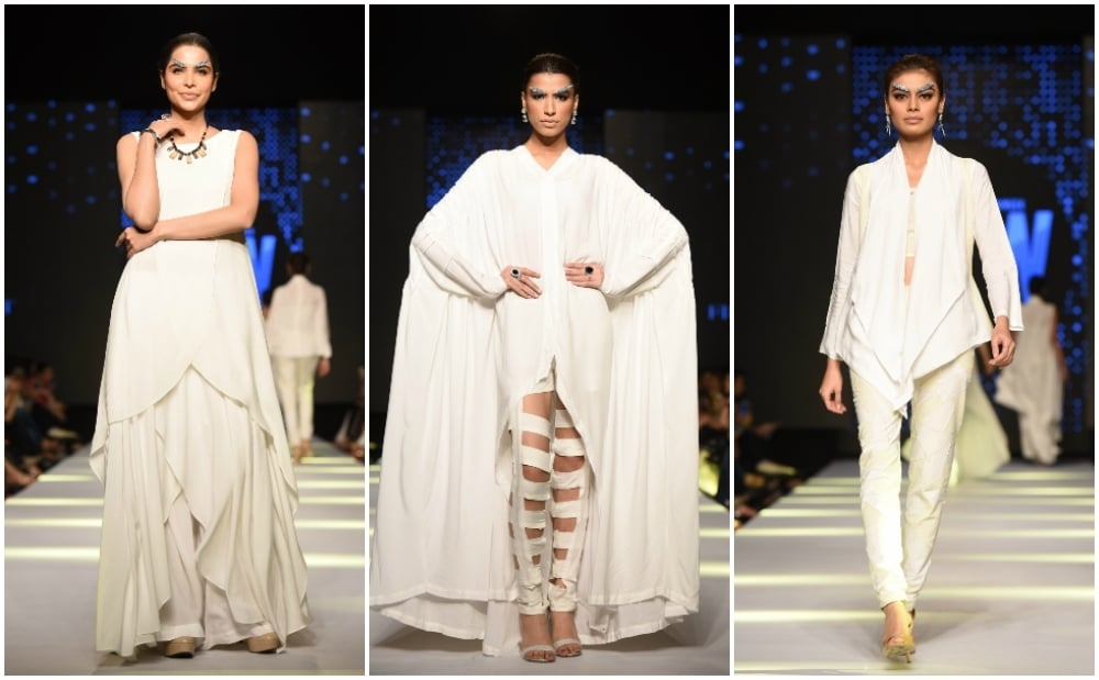 Rizwanullah worked without embellishment, using layering and draping.