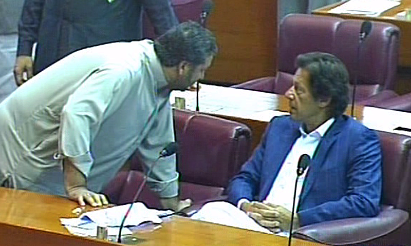 Imran Khan pictured in National Assembly after months of boycotting the Parliament to protest alleged rigging in the May 2013 election