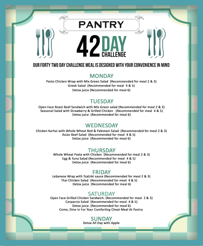 Pantry's offering a wide menu in collaboration with the 42 Day Challenge.