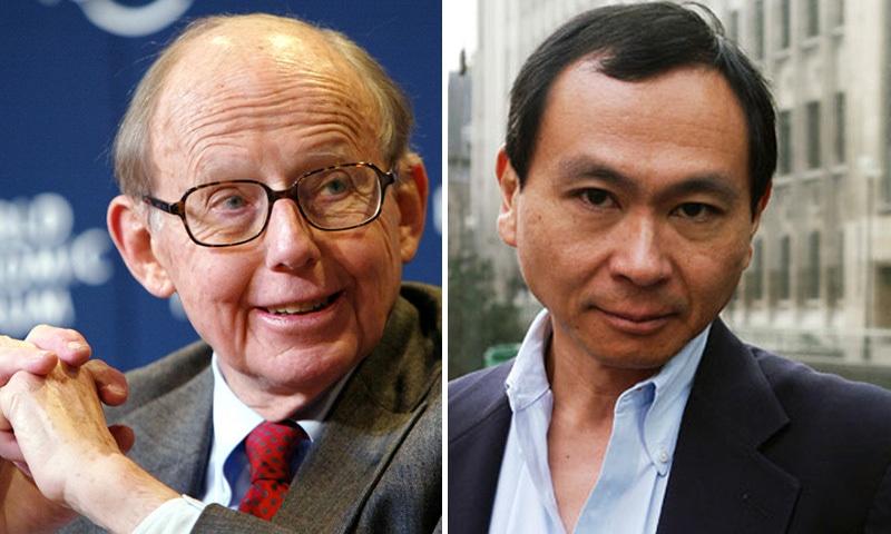 Huntington (left) and Fukuyama.
