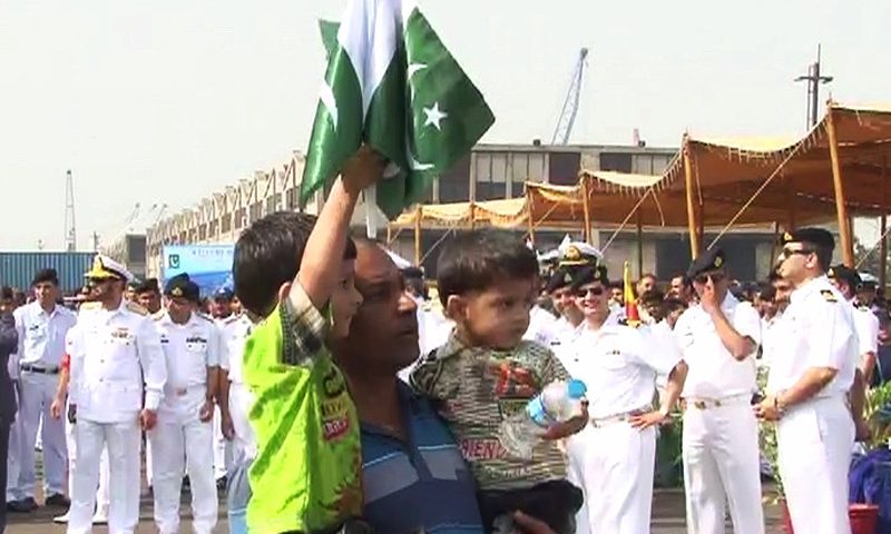 Navy personnel welcome joyous evacuees - DawnNews screen grab