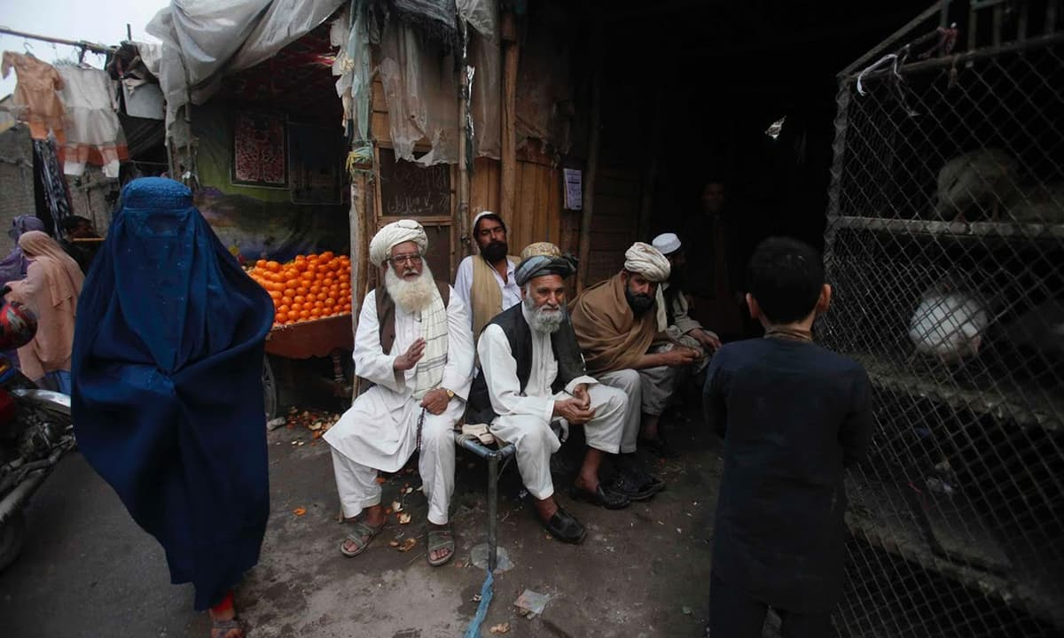 Afghan refugee Haji Arsala Khan (centre), who has a residency card which will expire in December 2015, sits with his friends in a poultry shop.