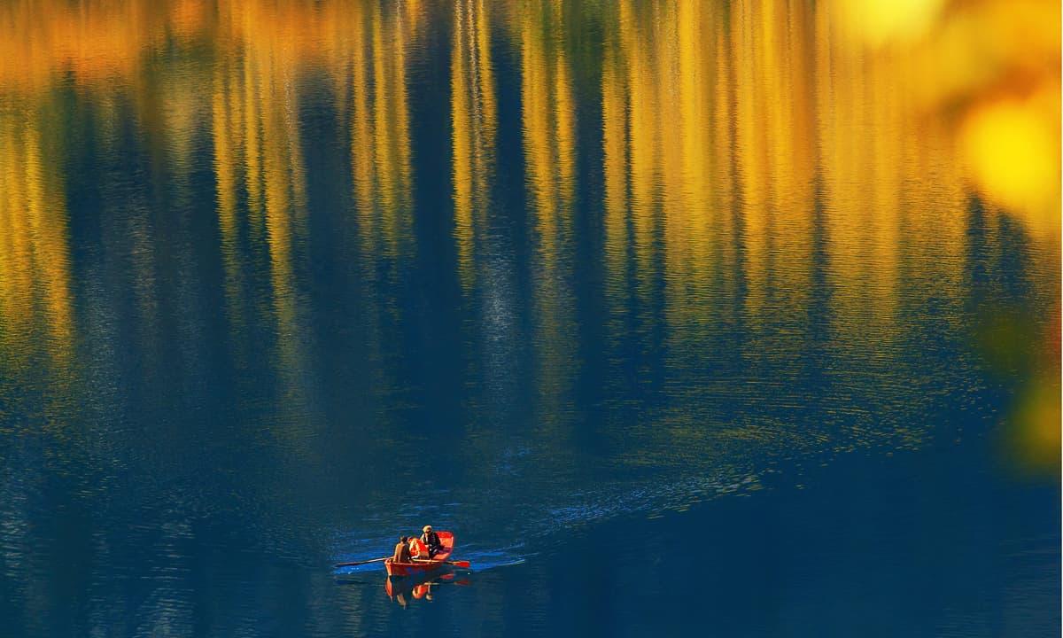Boating in upper Kachura lake. — S.M.Bukhari