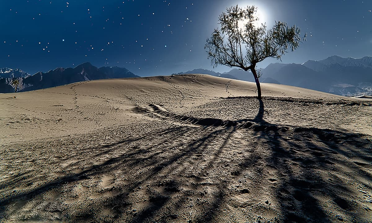 Katpana sand dunes at night. — S.M.Bukhari