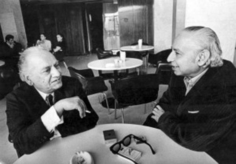 Comrades: Progressive Urdu poet, Faiz Ahmed Faiz, at a café with friend and leader of the Communist Party of Pakistan (CPP), Sajjad Zaheer. Both Faiz and Zaheer were arrested in 1951 for planning a 'communist coup' against the government with Major-General Akbar Khan.  Faiz was released in 1957.