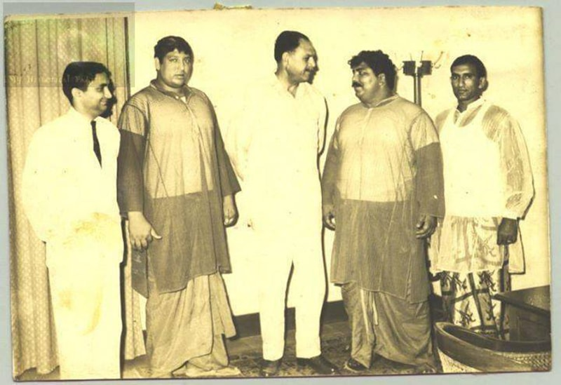Strongmen: President Ayub Khan with legendary Pakistani wrestlers, the 'Bholu Brothers' at the Presidency in 1967. The Brothers were considered to be some of the finest wrestlers in the world at the time.