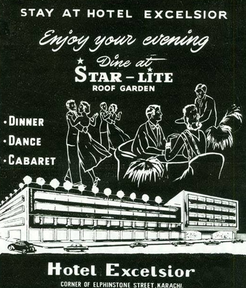 Press ad of Karachi's Hotel Excelsior. The hotel shut down in the late 1970s. Its club largely catered to middle-class Karachiites.